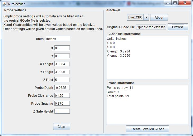 Version 0.7 of the AutoLeveller GUI: The stats displayed are automatically generated from the input gcode file